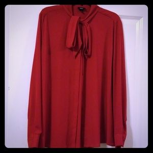 Red Button Down Blouse with Bow